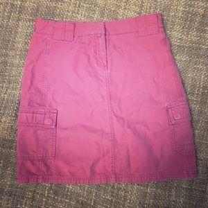 J Crew Red Cargo Skirt 100% Cotton Size 2